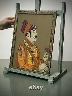 Vintage Indian Reverse Glass Painting, Maharaja Portrait. Large. Mughal Elite