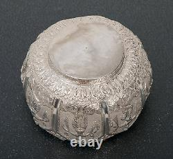 Vintage Indian Silver Repousse Bowl with Dancing Characters and Textured Ground
