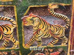 Vintage Indian Steel Jali Panel Painted Elephant Tiger Horse Wall Hanging Art a