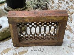Vintage Indian Teak Wooden Iron Window Jali Screen Salvaged in Rajasthan 4