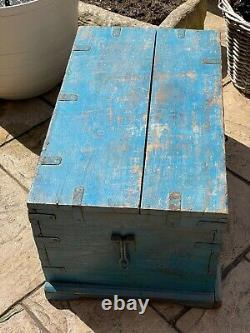 Vintage Indian Traders Wooden Box Chest Cash Till Removable Tray Storage Salvage