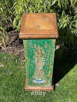 Vintage Indian Wooden Display Plinth Ideal Plant Lamp Stand Green Hand Painted