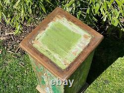 Vintage Indian Wooden Display Plinth Ideal Plant Lamp Stand Hand Painted Green