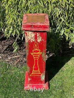 Vintage Indian Wooden Display Plinth Ideal Plant Lamp Stand Hand Painted Red