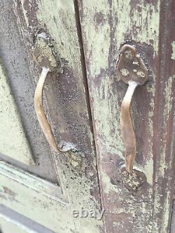 Vintage Indian Wooden Doors Shutters Brass Handles Porcelain Knobs Rajasthan a