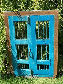 Vintage Indian Wooden Iron Window Jali Screen Hinged Panels Rajasthan Blue