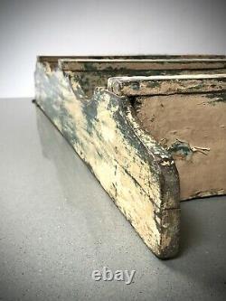 Vintage Indian Wooden Shelves. Antique, Art Deco. Distressed Teal & Vanilla