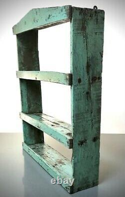 Vintage Indian Wooden Shelves. Antique, Art Deco. Eau De Nil & Waxed Teak