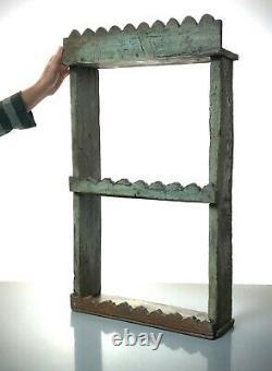 Vintage Indian Wooden Shelves. Antique, Art Deco. Pale Sage & Waxed Teak