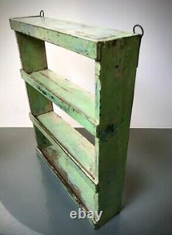 Vintage Indian Wooden Shelves. Antique, Art Deco. Peppermint, Baby Pink & Blue