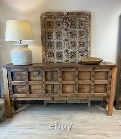 Vintage Indian carved polished console table