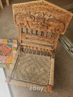 Vintage Indian rajasthani folding Wooden Hand Carved Pida Low Chair Elephants vw