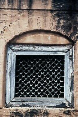Vintage Large Indian Teak Wooden Iron Window Jali Screen Salvaged in Rajasthan