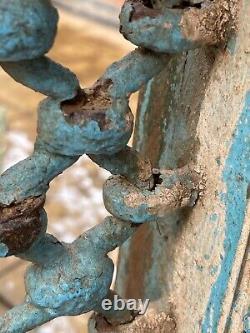 Vintage Large Indian Teak Wooden Iron Window Jali Screen Salvaged in Rajasthan 5