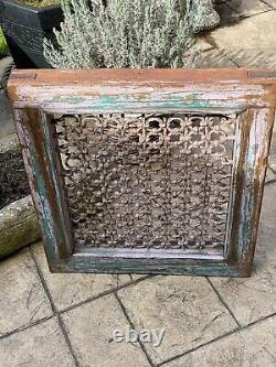 Vintage Large Indian Teak Wooden Iron Window Jali Screen Salvaged in Rajasthan 9