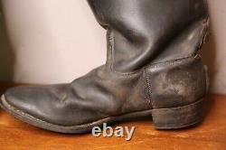 Vintage Leather Engineer Boots Horse Riding Western Military Black Antique Mens