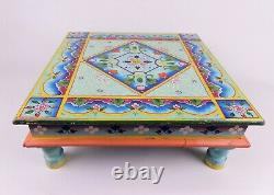 Vintage Low Wooden Tea Table Hand Painted Footstool Plant Stand Blue Pink Teal