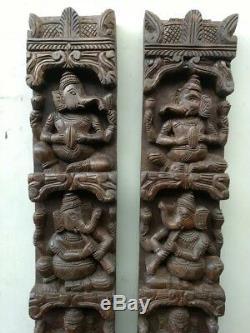 Vintage Musical Ganesh Set Wooden Wall Vertical Panel Hindu God Sculpture Rare