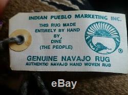Vintage Native American Indian Rug Saddle Blanket Storm Navajo Bessie Martin