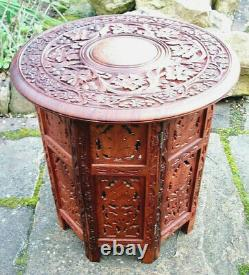 Vintage Octagonal Anglo/indian Folding Wooden Side Table Inlaid Top