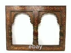 Vintage Old Collectible Wooden Hand Carved Painted Home Decor Mirror Photo Frame
