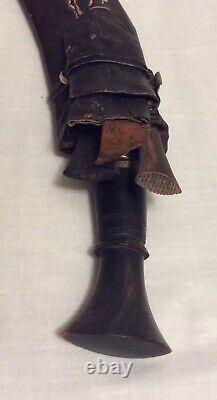 Vintage Old Rare Hand Carved Horn Handle Iron Blade Dagger Safety Knife holster