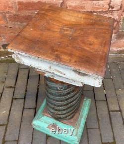 Vintage Original Antique Indian Wooden Column Pillar Pedestal Stand 60cm High
