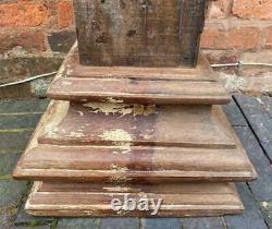 Vintage Original Antique Indian Wooden Column Pillar Pedestal Stand 62cm High