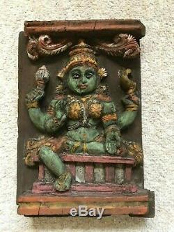 Vintage Parvati Wooden Carving Hindu God Wall Panel Statue Antique Sculpture