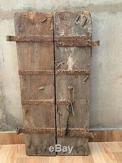 Vintage Rare Collectible Wooden Handcrafted Painted Iron Clevis Old Window India