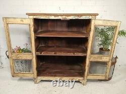 Vintage Rustic Indian Wooden Glazed Shop Display Bathroom Kitchen Cabinet
