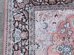 Vintage Traditional Hand Made Indian Keshmir Oriental Pink Silk Rug 180x122cm