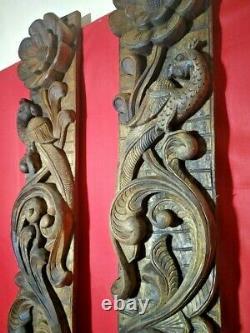 Vintage Wall Vertical Panel Wooden Floral Elephant Peacock Window Decor Door Art