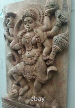 Vintage Wall Wooden Panel Hindu Durga Kali Devi Temple sculpture Statue Decor