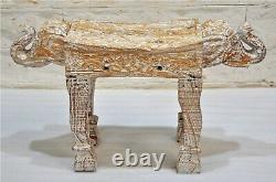 Vintage Wooden Elephant Face Side Stool Bench Fine Hand Carved White Rustic