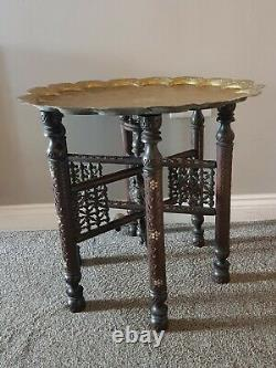 Vintage antique Brass Top Table / Tray table/ Folding Side Table/Indian