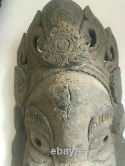 Vintage hand carved wooden Ganesh Mask Hindu Nepalese Buddha Yoga Meditation