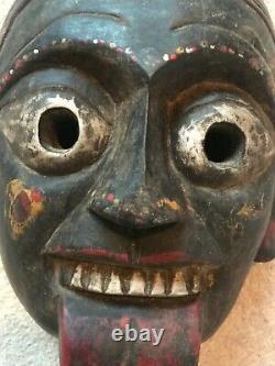 Vintage hand carved wooden Goddess Kali Mask Hindu Nepal Buddha Yoga Meditation