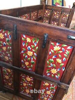 Vintage hardwood Indian Dowry Chest bench Seat Painted