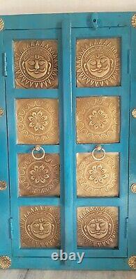 Vintage style wooden blue window brass god sun fitting Indian wall 2 doors frame