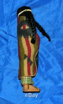 Vtg Antique Skookum Indian Composition And Wood Doll, Mother W Papoose Baby