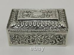 Vtg c1900 Colonial Indian Ceylon Solid Silver Trinket Jewellery Box Chest 101g