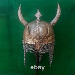 Vtg mughal islamic silver damascened Devil Horn iron khula khud helmet chainmail