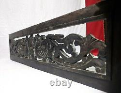 Wall Hanging Wooden Panel Antique Dragon Hand Carved Vintage Estate Home decor U