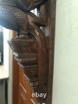Wall Peacock Corbel Wooden Bird Bracket Vintage Sculpture Statue Estate Decor UK