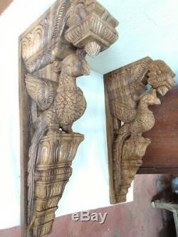 Wall Wooden Bracket Corbel Pair Vintage Peacock parrot Sculpture Statue Decor UK