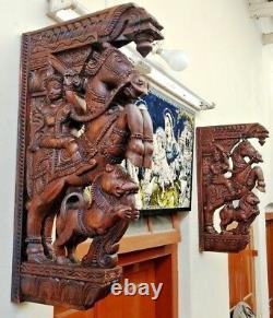 War Horse Wooden Wall Bracket Corbel Pair Sculpture Statue Vintage Home Decor