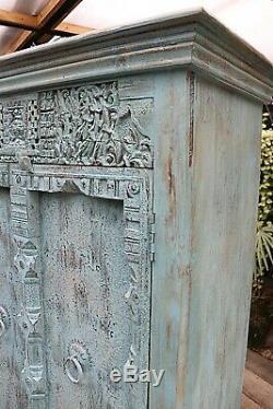 Wow! Old Vintage Painted Blue/ Carved Indian Cupboard/cabinet-we Deliver