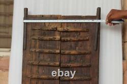 18ème C Brass Iron Fitte Handcrafted Wooden Indian Fort Vintage Window Door