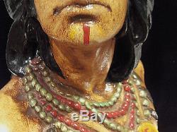 1900 Vtg Estate Antique Tabagie Indien Hiawatha Rare Tabac Statue Poitrine